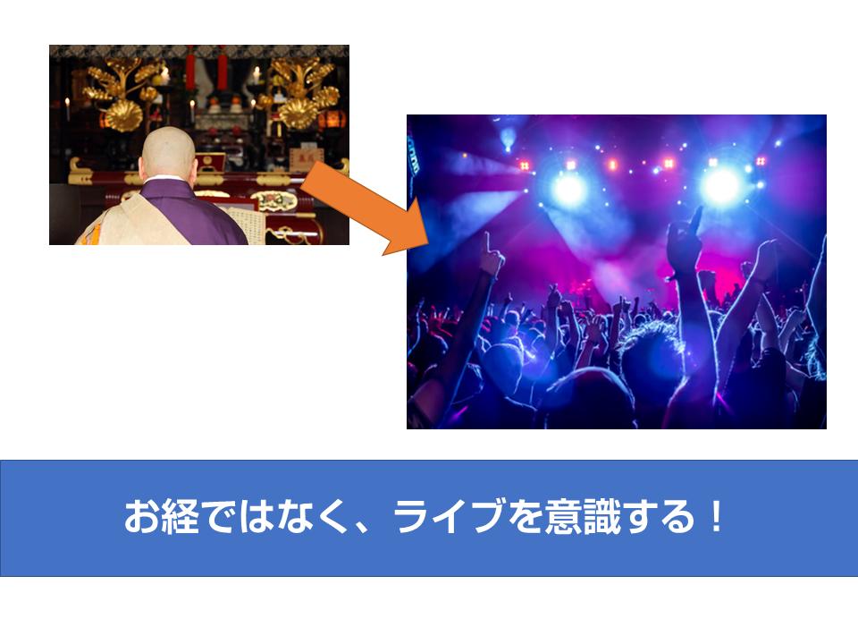 お経ではなく、ライブを意識する!